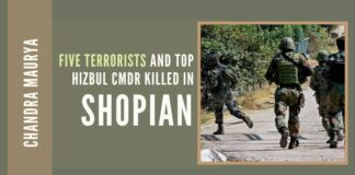 Five terrorists including a top Hizbul Mujahideen commander were killed during the fierce gunfight in the Shopian district. Several top commanders among 100 terrorists killed since January 2020