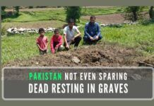 Several mortar shells fired by Pakistan army landed in the close vicinity of a local graveyard and few of them blasted close to graves of their loved ones in ward no 4 of Khari Karmara