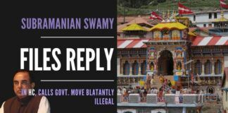 Dr. Subramanian Swamy files a scathing response in the Uttarakhand Government takeover of 51 temples