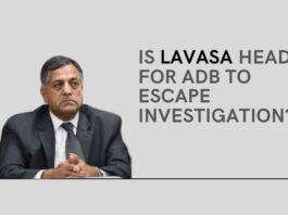 Was an impending investigation into the affairs of his wife and son the reason for the CEC incumbent Ashok Lavasa to flee to ADB?