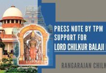 Request by TPM for all Organizations believing in Sanatana Dharma to come forward and support the representation of Lord Chilkur Balaji Deity which is for our own welfare