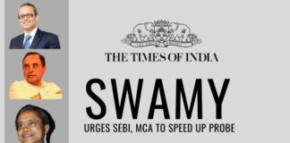 Swamy urges SEBI, MCA to act quickly against the Times of India group on its tax violations