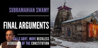 Subramanian Swamy gave forceful arguments on why the Uttarakhand government Char Dham act is a reckless disregard of the Indian Constitution