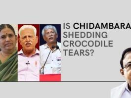 "Opportunistic Chidambaram crying rivers on the ""treatment"" of Urban Naxals, having shown no such sympathy when he was the Home Minister"