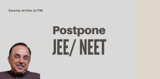Underlining the importance of how failing a JEE/ NEET could affect the psyche of a student, Swamy writes to the PM, urges postponement