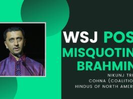 "Piketty did it - coined ""Brahmin Left"". Now a partial plagiarism to try and fit the word Brahmin with Bailout by an author, who typically spews venom on India. In this hangout, Nikunj Trivedi, President of CoHNA, details his letter to the Wall Street Journal (WSJ), pointing out the deliberate misuse (and abuse) of the word Brahmin and goes on to say that it leads one to believe that the WSJ supports its authors who deliberately show Hinduphobia."