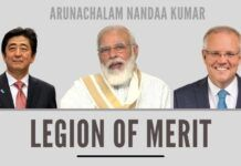 Legion of Merit award was awarded to NaMo, Abe and Morrison for their leadership and vision by US Prez