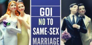 Government of India clarifies that a marriage is between a man and a woman