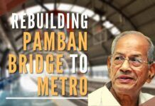 Recollecting his work of the massive destruction of the Pamban bridge that was washed away due to a massive Tsunami and rebuilding it in record time, building the Konkan Railway, and recollecting his work on several Metros around India due to which he is now called as The Metro Man.