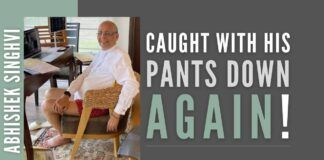 In what could come as an acute embarrassment for a senior Supreme Court lawyer, Abhishek Singhvi has been caught attending a court session with no pants
