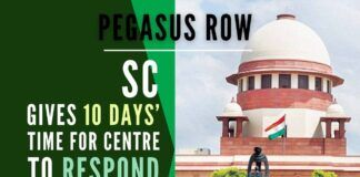 Supreme Court gives 10 days' time for Centre to respond on the Pegasus row, allows Govt to not reveal sensitive information related to National Security