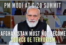 PM Narendra Modi stressed preventing Afghan territory from becoming source of radicalization, and terrorism at virtual G-20 summit